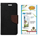Tidel Premium Table Talk Fancy Diary Wallet Flip Cover Case For CoolPad Dazen1 (Black) With Tidel 2.5D Tempered...