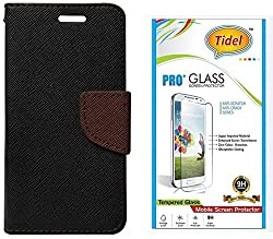 Tidel Premium Table Talk Fancy Diary Wallet Flip Cover Case for Samsung Galaxy J2 (Black) With Tidel 2.5D Tempered Glass