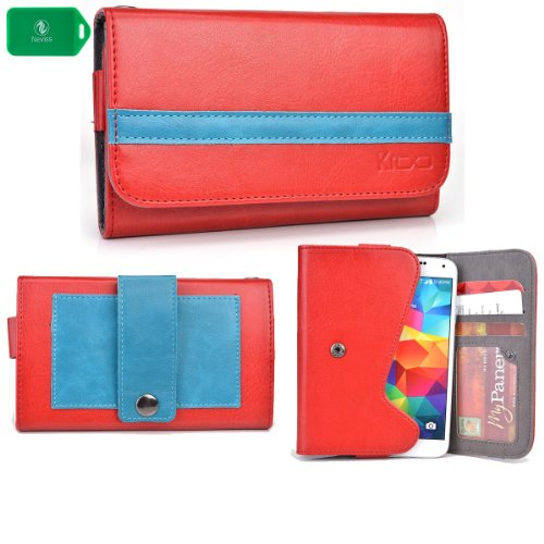 Classic Unisex Wallet/Phone Holder W/ Internal Card Slots- Red/Blue - Fits Gionee Pioneer P3