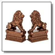 Bronze Library Matching Lion Statue Bookends