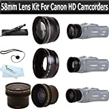 Essentials Lens Kit For Canon Vixia HF G20, HF G30, HF G40 HD Camcorder Includes .16x HD Super Wide Fisheye Lens + 2x Telephoto HD Lens + .45x Wide Angle Macro HD Lens + More