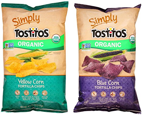 Simply Tostitos Organic Blue and Yellow Corn Chip Variety Bundle: (1) Blue Corn Tortilla Chips 8.25oz, (1) Yellow Corn Tortilla Chips 8.25oz (2 Pack Total) - Gluten Free (Blue Corn Tortillas Non Gmo compare prices)