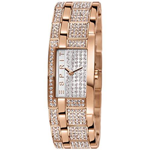 Esprit Bling Bling Houston - Reloj de cuarzo para mujer, correa de acero inoxidable chapado color oro rosa