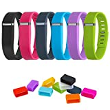 VictorGo 16-in-1 Bundle includes (6) Mixed-Color Black | Pink | Slate | Blue | Purple | Green Wristband and (10) Mixed-Color Silicon Fastener Ring for Fitbit Flex Wireless Activity + Sleep Wristband (Large)