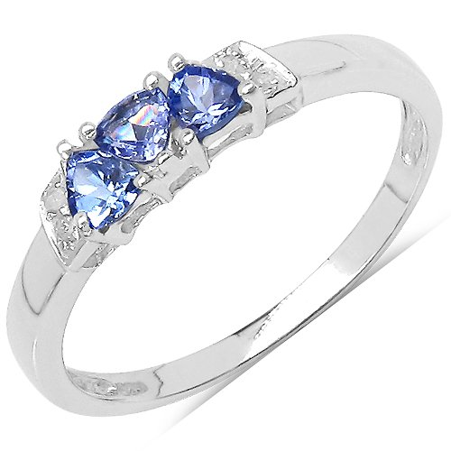 The Tanzanite Ring Collection: Ladies 925 Sterling Silver Tanzanite & Diamond Engagement Ring with 0.32 Carats Genuine Tanzanite & 4 Diamonds (Size O). Comes in a Quality Ring Case for that Special Gift.