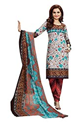 BJAC Unstitched Salwar Suit with Multi & Brown Color