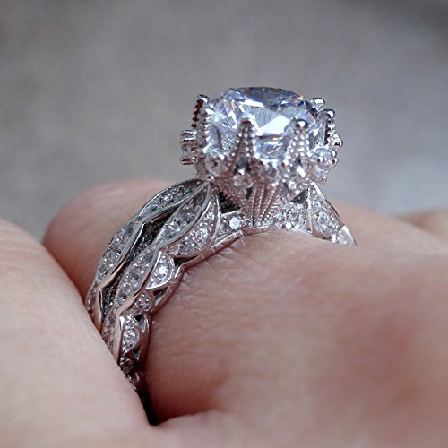 Newshe Vintage 3ct Round White CZ 925 Sterling Silver Wedding Band Engagement Ring Set Size 6