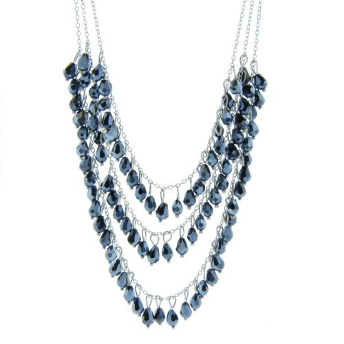 Stainless Steel Layered 3 Row Blue Crystal Teardrop Briolete Necklace