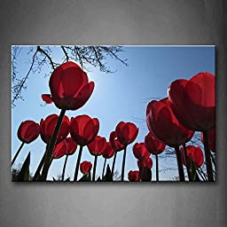 First Wall Art® - Red Tulip With Sunlight Wall Art Painting The Picture Print On Canvas Flower Pictures For Home Decor Decoration Gift