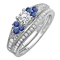 1.00 Carat (ctw) 14k White Gold Round Blue Sapphire & White Diamond Bridal Engagement Ring Set 1 CT