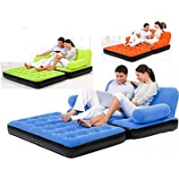 J GO 5 in 1 Color Air Sofa Cum Bed With AC Inflacor 3 Seater Airsofa (Multi-Color)