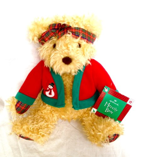 "Hallmark Merrily Bear 12"" Plush Christmas Bear"