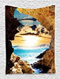 Ambesonne Natural Landscapes Decor Collection, Caves and Ocean Waves, Bedroom Living Kids Girls Boys Room Dorm Accessories Wall Hanging Tapestry