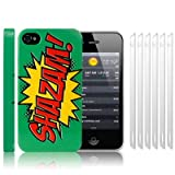 iPhone 4S / iPhone 4 Comic Capers SHAZAM Green/Red/Yellow Hard Back Cover Case / Shell / Shield + 6-in-1 Screen Protector Pack By Creative 11by Creative Eleven