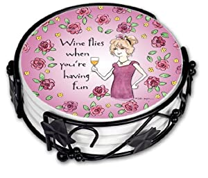 Wine Fun Ceramic Drink Coaster Set Coasters