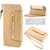 For iPhone 6S Plus,iPhone 6S Plus Case,Candywe Case for iPhone 6S Plus,iPhone 6S Plus leather,iPhone 6 Plus leather case,Elegant Design Wallet leather case cover for iPhone 6S Plus With strap Gold
