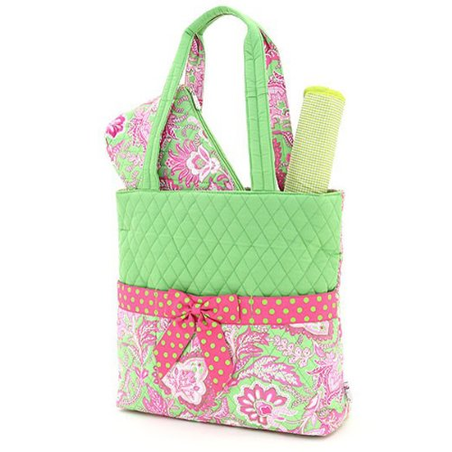 Belvah Quilted Floral 3pc Diaper Bag - 1