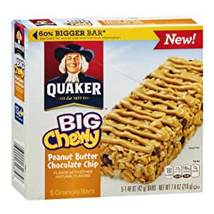 Quaker Big Chewy Peanut Butter Chocolate Chip Granola Bars ...