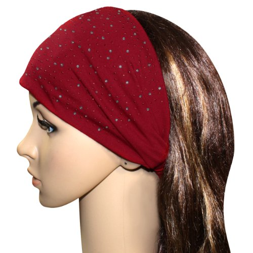 Sparkling Rhinestone and Dots Wide Elastic Cotton Headband - Red