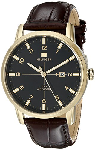 Tommy Hilfiger Men's 1710329 Casual Sport 3-Hand Brown Croco Leather Strap and Gold-Plated Case Watch