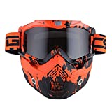 Motorcycle Goggles Mask, Detachable for Motocross Helmet Goggles use, Tactical Airsoft Goggles Mask: Valley Orange with Tinted Lens (Color: Valley Orange Frame+tinted Lens, Tamaño: Standard)