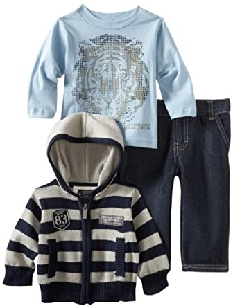 Kenneth Cole Baby-boys Infant Hooded Sweater And Tee With Jeans, Assorted, 12 Months