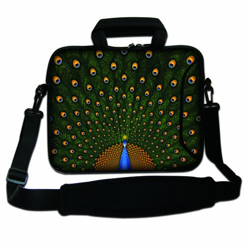 "17"" 17.3"" 17.4"" Inch Noble Peacock Neoprene Notebook Laptop Soft Bag Sleeve Case Cover Pouch With Adjustable Shoulder Strap For Apple Macbook Pro 17 /Hp Envy 17 Series/ Pavilion Dv7/Dv7T/G72/G72T/G7T/M7 Series / Dell Inspiron 17 17R I17Rm I17Rv Xps 17 Ser front-249428"