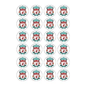 Liverpool Fc Style 24 Edible Wafer Paper Fairycup Cake Toppers On An A4 Sheet - Birthday Cake And Party Idea from Bakery Kitchen