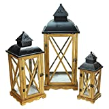 "Set of 3 Country Elegance Wooden Garden Style Glass Pillar Candle Lanterns 14.75"" - 27.75"""