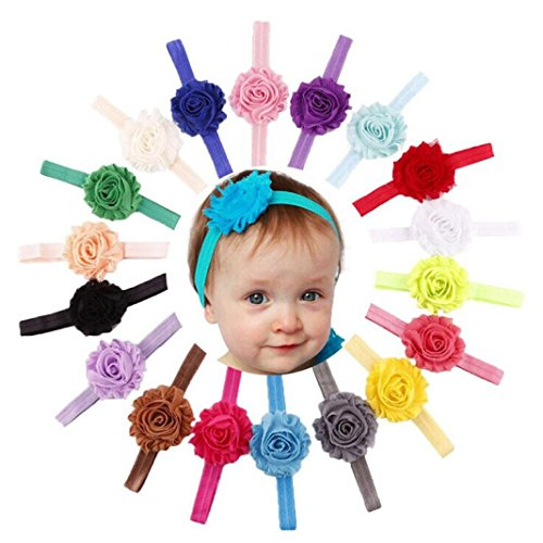 18PCS Babys Girls Hairband , Misaky Elastic Shabby Flower Photography Headbands