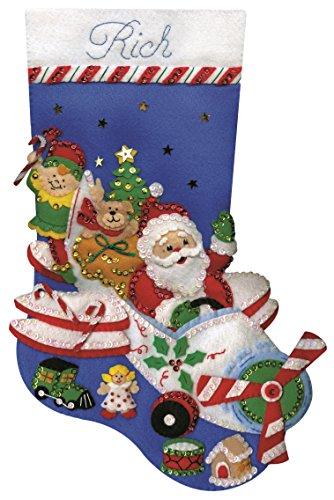 Tobin Flying Santa Stocking Felt Applique Kit, 18-Inch Long