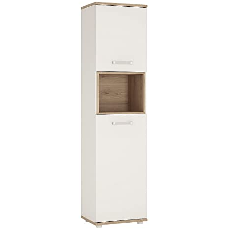 Furniture To Go 4Kids Tall 2 Door Cabinet with Opalino Handles, Wood, White Gloss/Light Oak