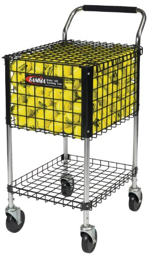 Gamma Sports Premium Tennis Brute Teaching Cart - Unique Sports Equipment, EZ Travel Ball Carrier, Heavy Duty Design with Padded Handle & Convenient Under-basket Tray, Ideal Training Court Accessory