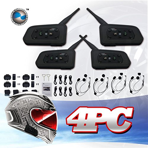 Lexin 4x Waterproof Bluetooth Intercom System For Motorcycles Motorbikes Connect Up To 6 Riders At Max