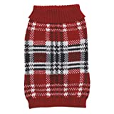 Zack & Zoey 24-Inch Acrylic English Plaid Pet Sweater, X-Large, Red