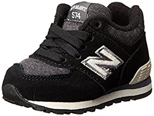 New Balance KL574 Lace-Up Pennant Running Shoe (Infant/Toddler),Black/White,3 W US Infant