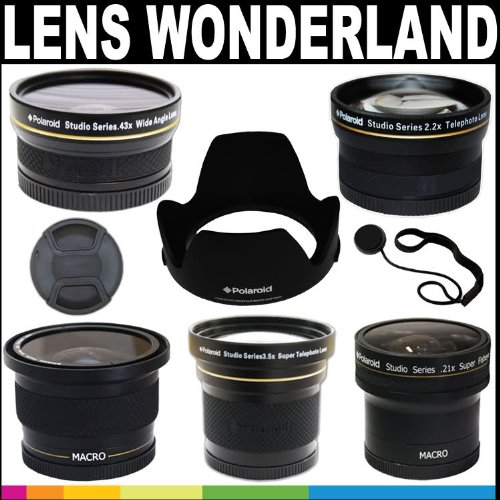 "Polaroid Premium Package: Polaroid Studio Series HD Lens Wonderland Kit (.21x Super Fisheye Lens, .42x Fisheye Lens, 3.5X Super Telephoto Lens, .43x Wide Angle Lens, 2.2X Telephoto Lens, Lens Hood With Exclusive Pushbutton Mounting System, Snap Mount Lens Cap, Lens Cap Strap) For The Olympus OM-D E-M5, PEN-E-PL3, PEN-E-PL5, E-PM1, E-PM2, PEN E-P3, E-PM1, PEN-E-PL3, PEN E-P2, PEN E-PL1, E-PL2, GX1 Digital SLR Cameras Which Has The ZUIKO Digital ED 14-42mm ""Micro"" 4/3 Zoom Olympus Lens"