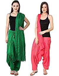 BILOCHI'S Combo Of Pak Green :: Peach 2 Best Indian Pure Cotton Readymade Punjabi Solid Patiala Salwar Matching...