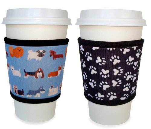 Joe Jacket® - 2 Pack - Reusable Coffee Cup Sleeve - Pet Lovers Gift - Dogs & Paw Prints Picture