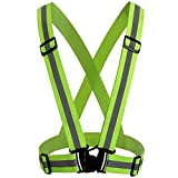 Raking Reflective Visibility Adjustable Vest for Running, Riding, Walking,Jogging Cycling Fits Outdoor Safety Clothing-Belts Light Green