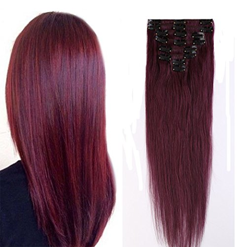 100% Real Remy Clip in Hair Extensions 16-22inch Grade AAAAA Natural Hair Full Head Standard Weft 8 Pieces 18 Clips Long Smooth Soft Silky Straight(20
