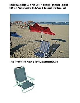 """'-Juego de viaje Stabielo® Holly®-""""Rimini-Contenido-Tumbona de aluminio-Antracita-2.8kg Fácil + Correa + Holly' Sun® Compartimiento pantalla Rojo + 360&n"""
