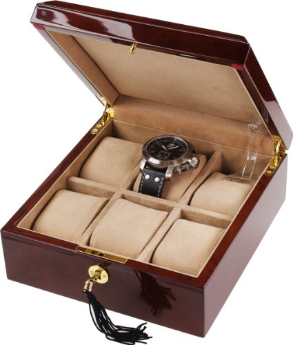 Auer Accessories Bateia 036DB Watch Box For 6 Watches Dark Burlwood