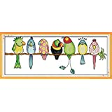 Full Range of Embroidery Starter Kits Stamped Cross Stitch Kits Beginners for DIY Embroidery (Multiple Pattern Designs)-Colorful Parrots (Color: Colorful Parrots)
