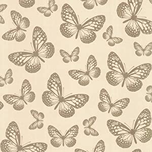 I Love Wallpaper Butterfly Shimmer Wallpaper Metallic Gold / Cream from I Love Wallpaper