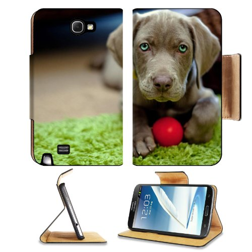 Dog Puppy Snout Ball Toy Samsung Galaxy Note 2 N7100 Flip Case Stand Magnetic Cover Open Ports Customized Made To Order Support Ready Premium Deluxe Pu Leather 6 1/16 Inch (154Mm) X 3 5/16 Inch (84Mm) X 9/16 Inch (14Mm) Liil Note 2 Cover Professional Note