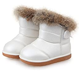 JYD NEW Babys Unisex Infant Kids Toddler Flat Winter Fur Boots Shoes Sz 5-12 10(Length:6.5\