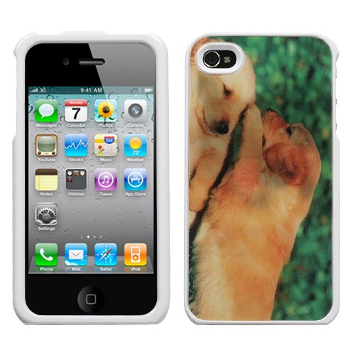 Hard Plastic Snap On Cover Fits Apple Iphone 4 4S Puppies (001/White) Illusion Plus A Free Lcd Screen Protector At&T, Verizon (Does Not Fit Apple Iphone Or Iphone 3G/3Gs Or Iphone 5/5S/5C) front-1000819