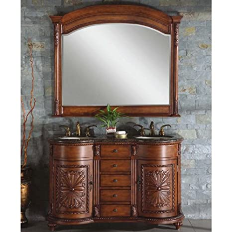 "Silkroad Exclusive WFH-0201-BB-UWC-54 Alexandra 54"" Double Sink Cabinet with 5 Drawers 2 Doors Baltic Brown Granite Top and Undermount White Ceramic Sinks (3-Hole) in Chestnut"