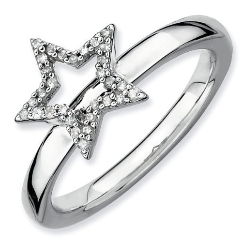 Diamond Star Stackable Ring 1/10ctw - Size 7.5